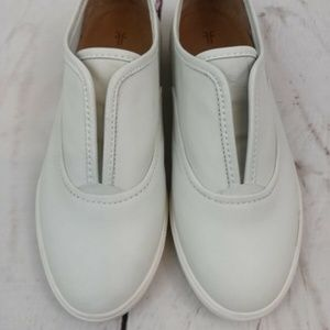Frye Mindy Slip On Leather Sneakers 3472364-WHT 7